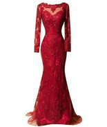 Red Long Mermaid Evening Dress Party Dress Prom Gown Long Sleeves Cheap - $189.00