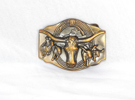 VINTAGE MENS BRONZE WESTERN STEER HEAD COWBOY 3... - $18.32