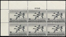 RW12, Mint VF-XF NH Top Plate Block of Six Duck Stamps Cat $600.00 - Stu... - $475.00