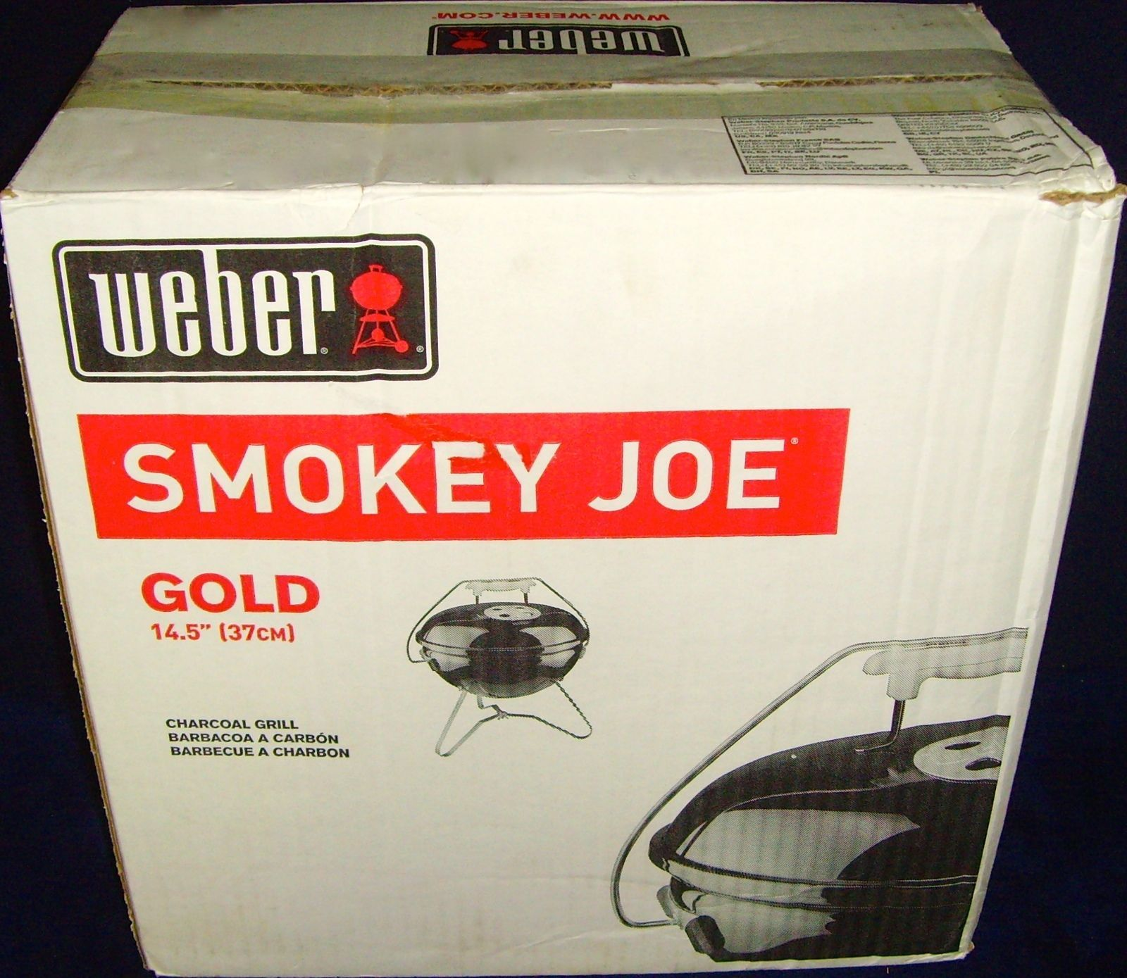 new in box weber smokey joe gold charcoal grill 14 5 model 40020 black resealed barbecues. Black Bedroom Furniture Sets. Home Design Ideas