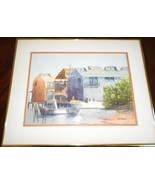 """LOVELY VINTAGE SIGNED """"Sylvia R. Kennedy"""" WATERCOLOR SEASCAPE PRINT FRAMED - $64.17"""