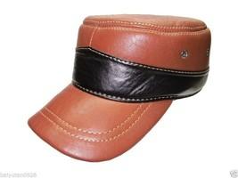 Echt Superior-Rindleder Mütze Kadett/Militär Leather Cap Braun Hat - ₨2,473.45 INR