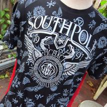 Southpole Mens TShirt Sz L Black Silver Snake Logo & Emblems Truth & Lib... - $22.08