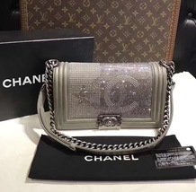 AUTHENTIC CHANEL PARIS DALLAS COLLECTION STRASS METALIZED CC BOY FLAP BAG image 3