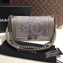 AUTHENTIC CHANEL PARIS DALLAS COLLECTION STRASS METALIZED CC BOY FLAP BAG image 4
