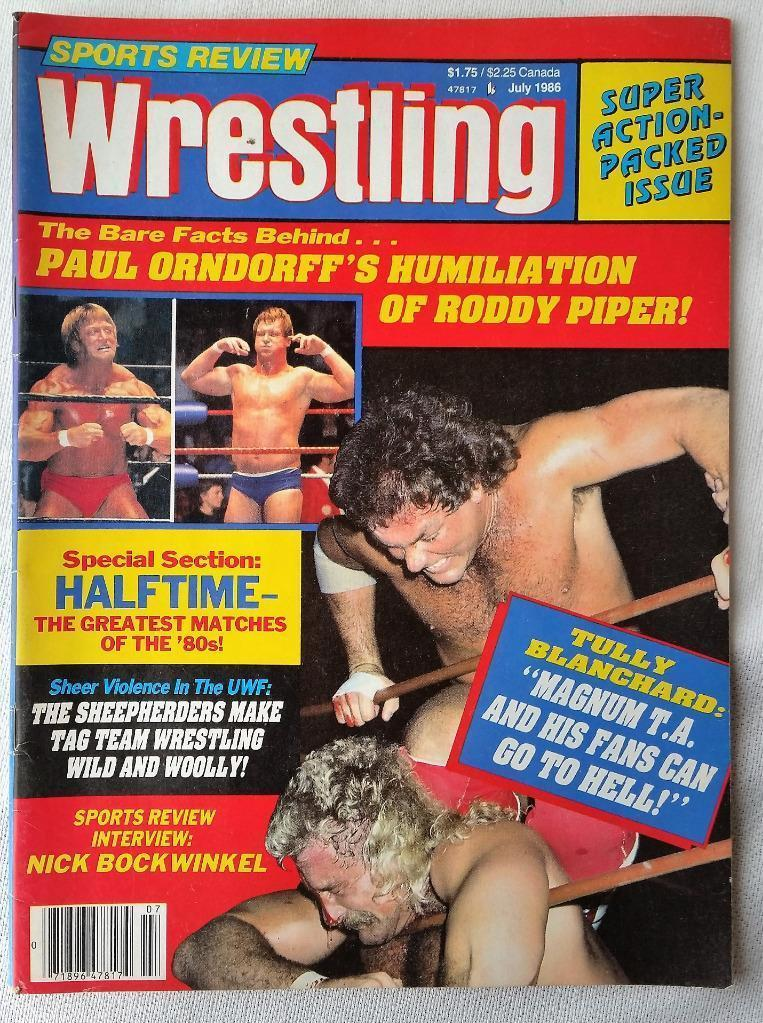July 1986 Wrestling Magazine Paul Orndorff Roddy Piper Tully Blanchard Magnum TA