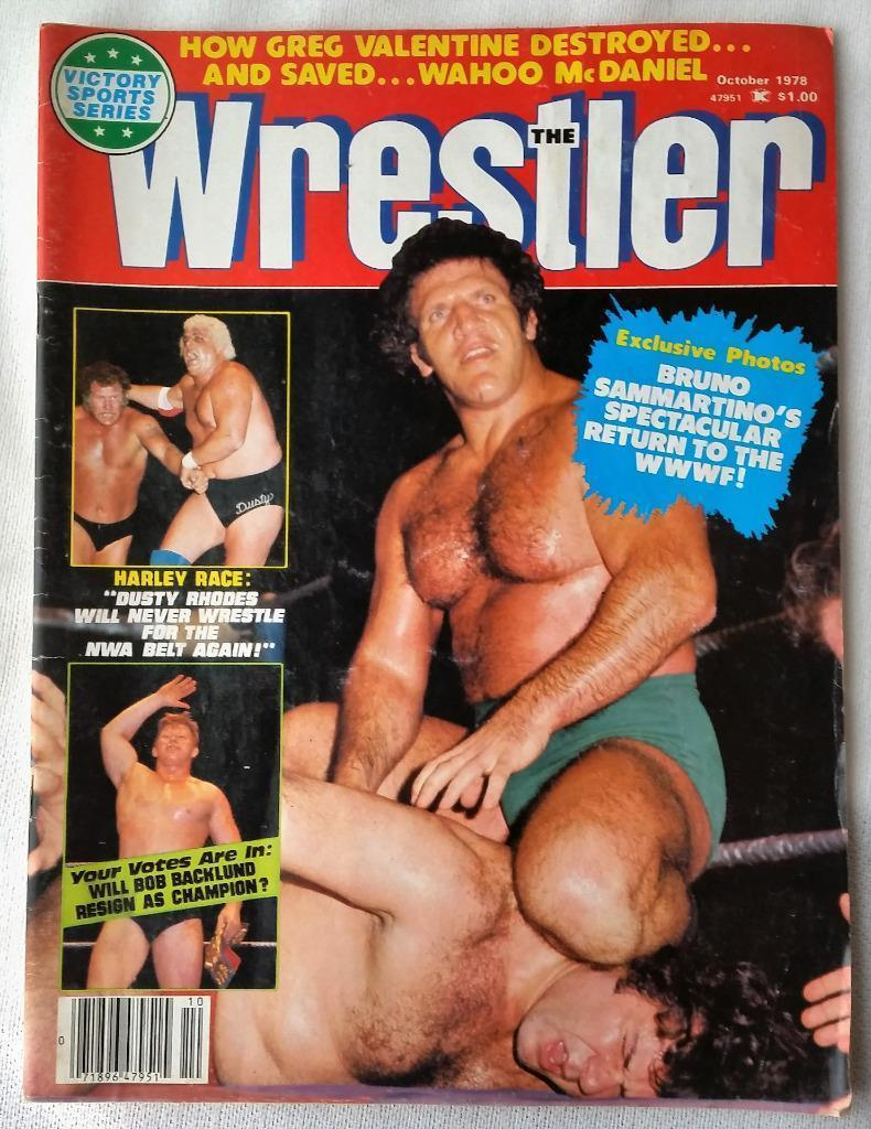 October 1978 The Wrestler Magazine Bruno Sammartino Harley Race Backlund Rhodes