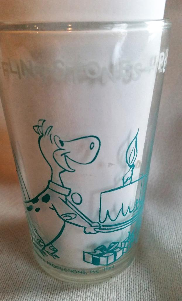"1964 Hanna Barbera Flintstones Glass ""Pebbles Birthday Party"" Barney in Bottom"