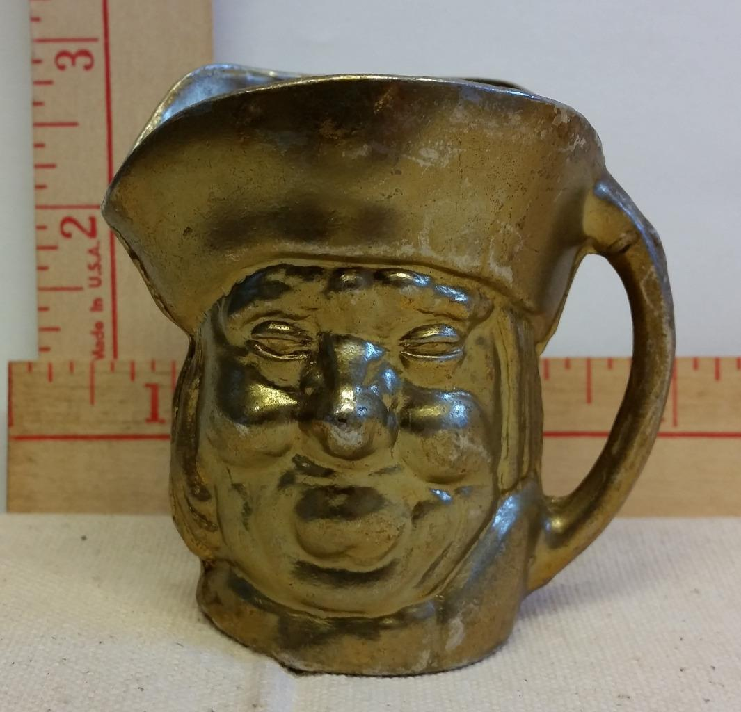 "Vintage Brass Miniature ""Pirate"" Toby Mug 2 3/4"" Tall Great Collectible"