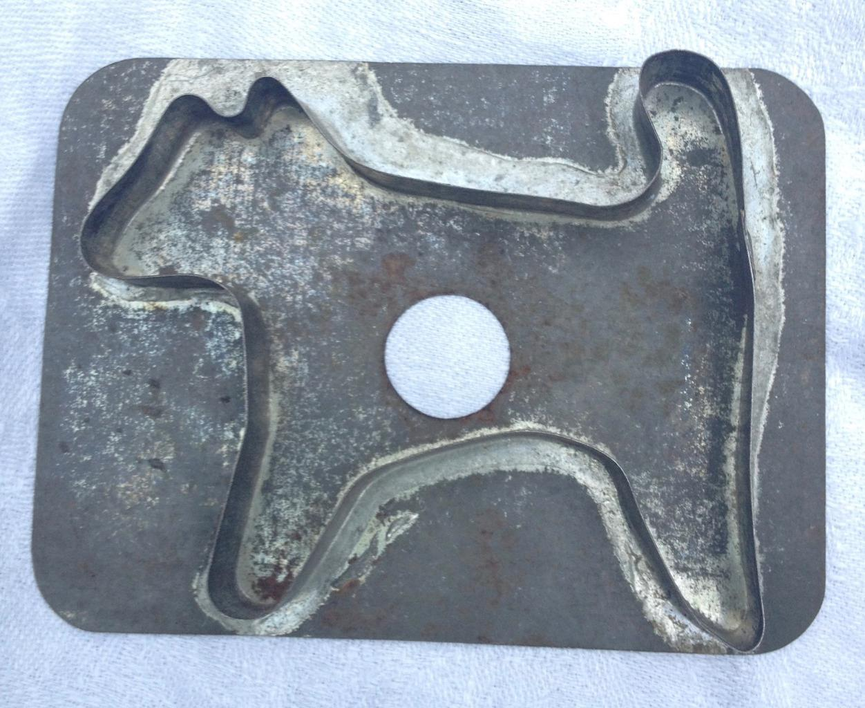 Antique Tin Soldered Dog Cookie Cutter Flat Back AAFA