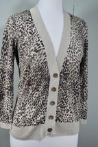 TALBOTS Cashmere/Silk Animal Leopard Print V-Neck Cardigan Sweater Brown/Tan - $39.50