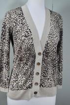 TALBOTS Cashmere/Silk Animal Leopard Print V-Neck Cardigan Sweater Brown... - $39.50