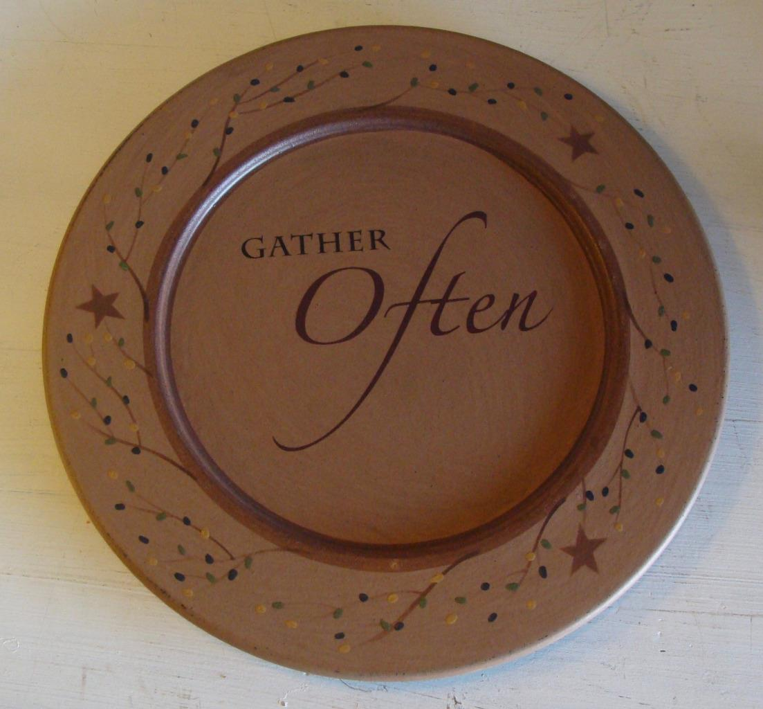 Gather Often Plate by Sabrina Wingren Country Primitive Rustic Decor Vine Stars