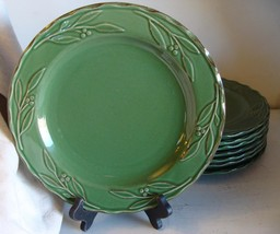 Bella Green Basil Signature Stoneware Dinner Plate Discontinued Debby Segura