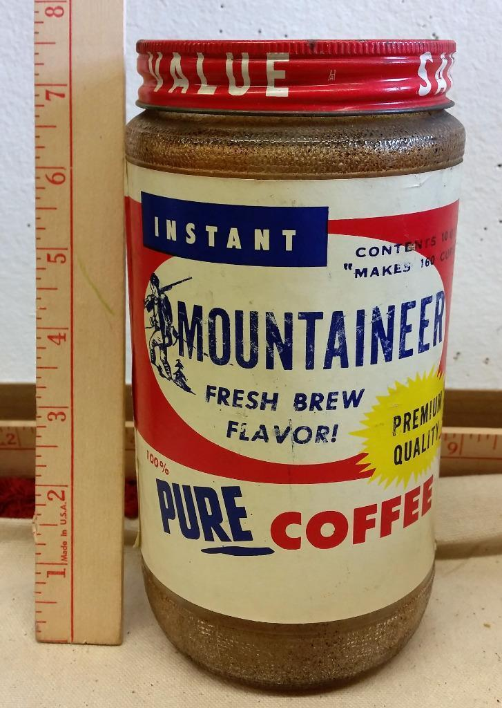 Vtg Mountaineer Coffee Jar Buckhannon Wv West Virginia Rare Lid Paper label #1