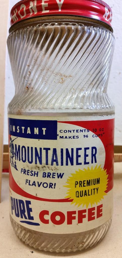 Vtg Mountaineer Coffee Jar Buckhannon Wv West Virginia Rare Lid Paper label #2