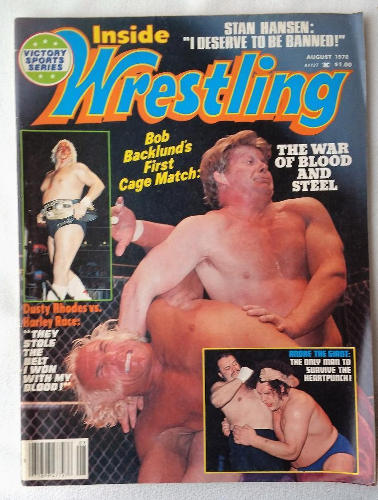 August 1978 Inside Wrestling Magazine Dusty Rhodes Harley Race Bob Backlund Hulk