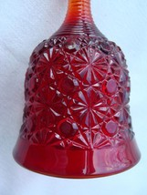 Vintage Fenton Glass Daisy & Button Bell Ruby Red Beehive Handle Clapper