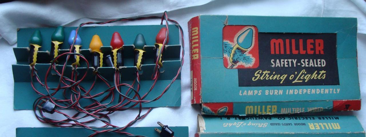 Vtg USA Miller String o'Lights 5 sets Indoor 103S Candelabra Base 115 - 125v