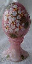 Vtg Fenton Glass Hand Painted Egg Rosalene Signed S. Waters 05146HP32