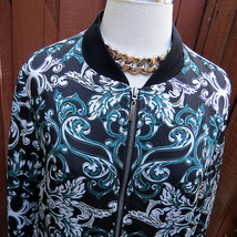 Ladies INC International Concepts Fleur de Lis Paisley Bomber Jacket Sz L Coat - $50.91