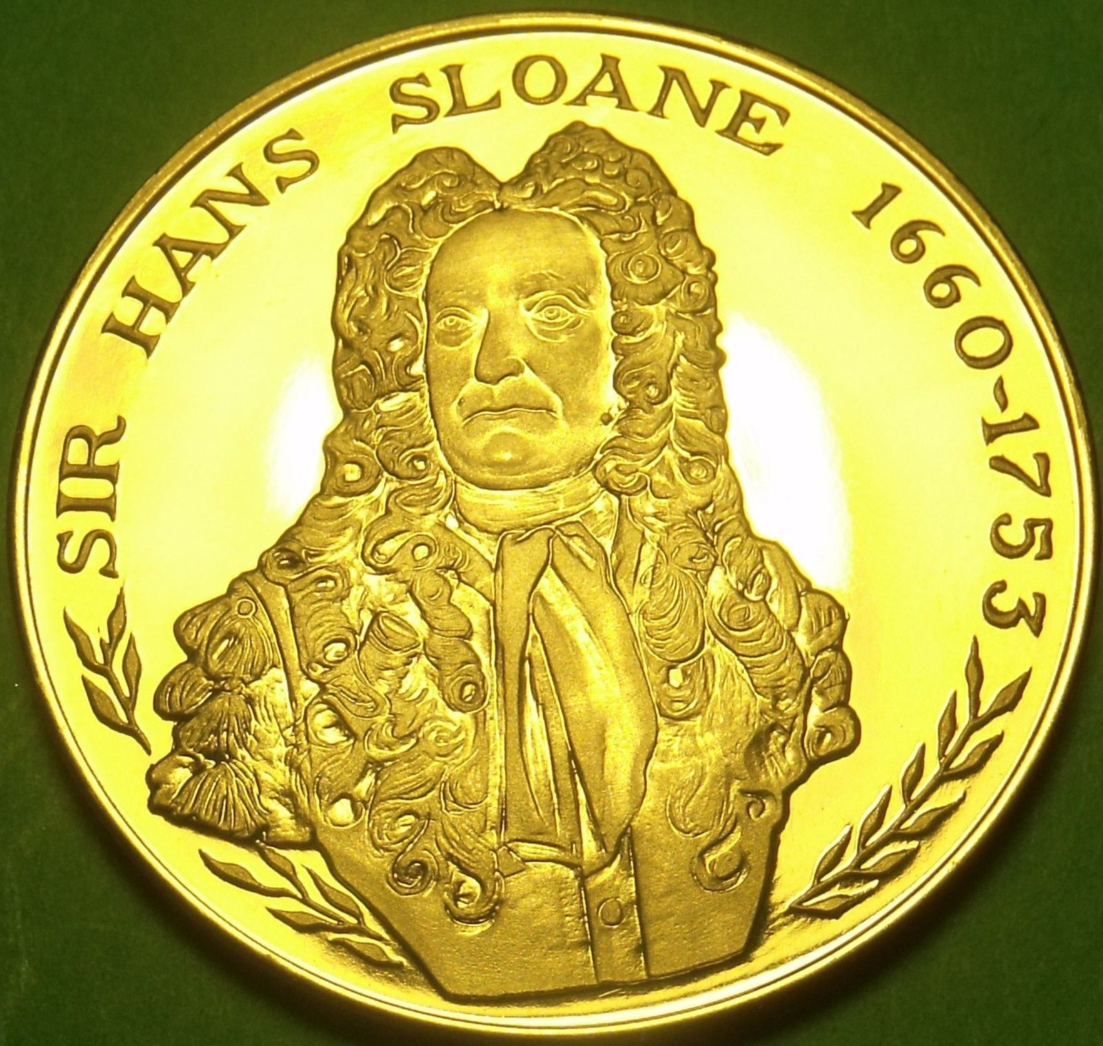 Primary image for 24k Gold-Plated Proof The British Museum Medallion~Sir Hans Sloane~37.8mm 20g