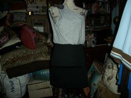 MISS ME Sexy Black Onyx+Heather Gray Rhinestone One Shoulder Dress Size S - $14.85