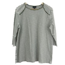 XS Extra Small WHO WHAT WEAR Women's Olive Stripe Top 3/4 Sleeve Shirt NWT - $17.30