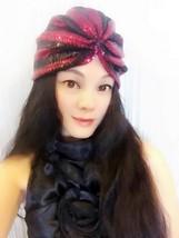 Black And Wine Red Sequin Turban,Women Turban,Full Turban,Headband,Turban Hat - $19.99