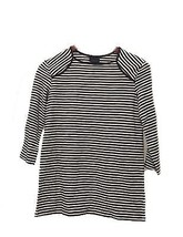 S Small WHO WHAT WEAR Women's Black Striped Top 3/4 Sleeve Shirt NWT - $9.74
