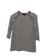 M Medium WHO WHAT WEAR Women's Black Striped Top 3/4 Sleeve Shirt NWT - $12.49