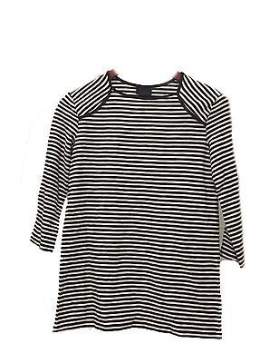 L Large WHO WHAT WEAR Women's Black Striped Top 3/4 Sleeve Shirt NWT