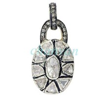 Victorian/Vintage Style 1.30  Ct Rose Cut/Polky Diamond Sterling Silver Pendant - $327.00