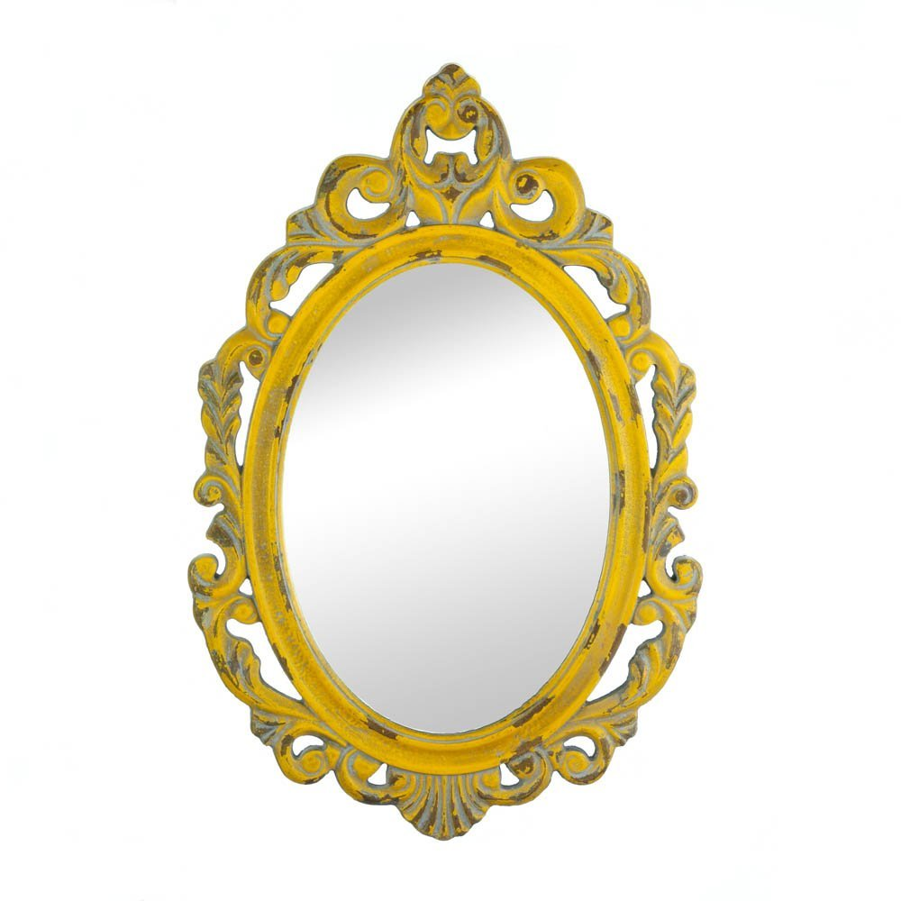 Wall Decor Mirror, Oval Ornate Wall Mirror, Modern Framed Vintage Yellow Mirrors