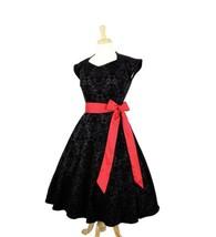 Hemet Women's Damask Vintage Inspired Black Full Circle Dress - $89.95