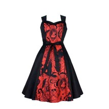 Hemet Red Steampunk Inspired dress Cameo Psychobilly punk feathers Crows... - $89.95