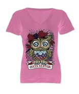 Timeless Queen Kerosin PINK OWL GIRLY Sugar Skull OWL V neck Women top - $9.99