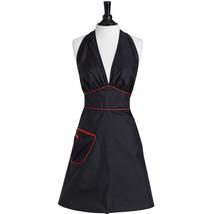 Jessie Steele Stylist Apron Black with Red Trim Adjustable Bombshell halter - $23.09