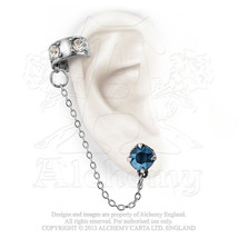 Diamond Pall Ear Cuff Delicate dusk blue crysta... - $21.73