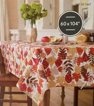 """Threshold OBLONG 60"""" X 104"""" Tablecloth Leaf Print With Gold Metallic Accent NEW - $17.94"""