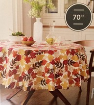 """Threshold  70"""" ROUND Tablecloth Leaf Print With Gold Metallic Accent NEW - $15.94"""