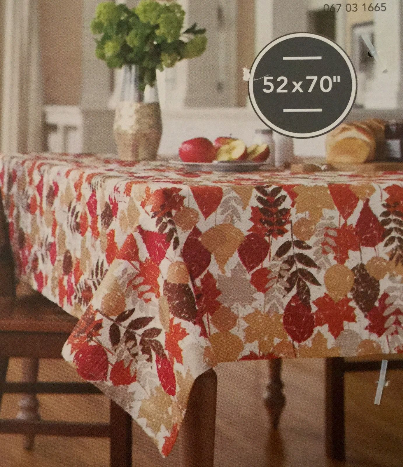 """Threshold OBLONG 52"""" x 70"""" Tablecloth Leaf Print With Gold Metallic Accent NEW - $15.94"""