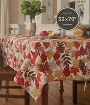 "Threshold OBLONG 52"" x 70"" Tablecloth Leaf Print With Gold Metallic Acce... - $15.94"