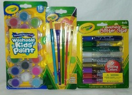 Crayola Art Gift Set Paints/Brushes/Glitter Glue New In Package Great Gift! - $14.80