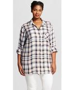 NWOT 4X Ava & Viv White Black Plus Size Button Down Plaid 28W 30W - $23.11