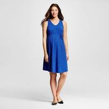 NWT MEDIUM Liz Lange Maternity Blue Black Striped Dress M - $19.24