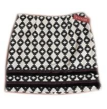 NWT Merona Black Beige Ikat Fringe Skirt Size 12 - €8,55 EUR