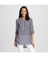 XS Merona Xavier Navy Checkered Plaid Popover Cotton Tunic - $19.34