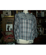 WE THE FREE FREE PEOPLE Lovely Heather Gray Plaid Lace Blouse Size SP - $13.86