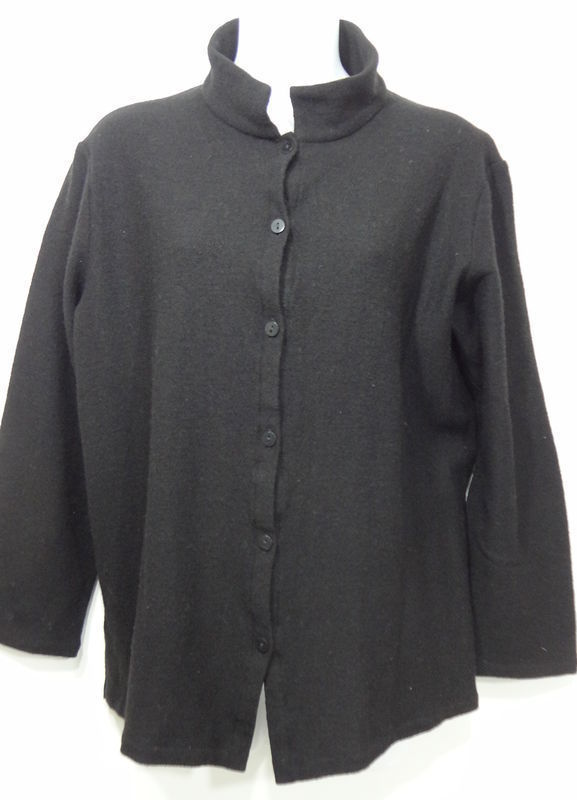 Primary image for Eileen Fisher Black Wool 3/4-Sleeve Shirt L